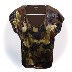 Le chateau Camouflage Sequin & Beaded Blouse